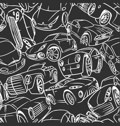 seamless pattern with handwritten cars vector image