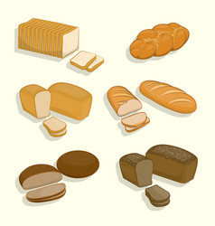 set of bakery products on a white background vector image