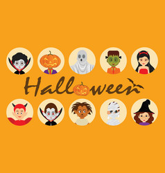 set of halloween cartoon characters icons vector image