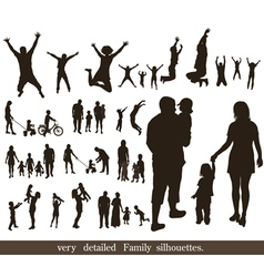 Set of very detailed family silhouettes vector