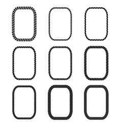 set rectangular black monochrome rope vector image