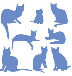 silhouettes of a sitting blue cats icon vector image