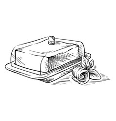 sketch hand drawn block of butter on dish and vector image