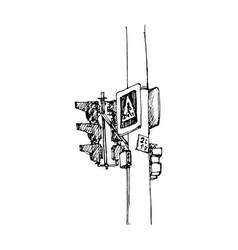 sketch of traffic lights vector image
