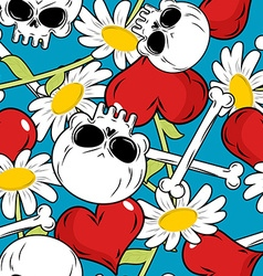 Skull and love seamless patetrn Red heart and vector