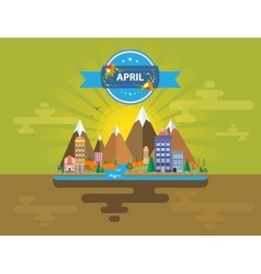 Spring landscape Small town vector