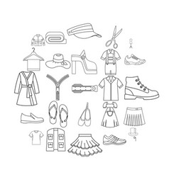 Stitching icons set outline style vector