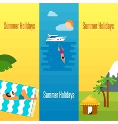 Summer Holidays Banner with Tropical Bungalows vector image