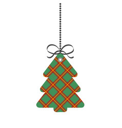 tag christmas or new year tree of scotch cage vector image