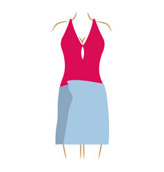 Thin contour of woman in magenta swimsuit and vector