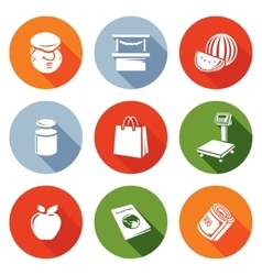 Trading on the market icons set vector