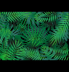 tropical leaves elements compilation as green vector image