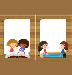 two background templates with girls reading vector image