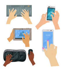 users hands on keyboard computer touch gestures vector image