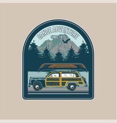 vintage badge with old camper car vector image
