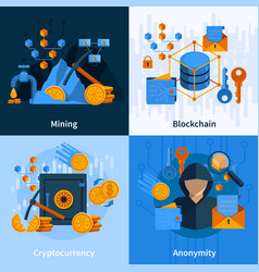 Virtual currency flat style concept vector
