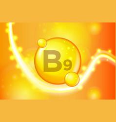 vitamin b9 gold shining pill capsule icon vector image
