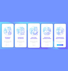 Wealth control services onboarding mobile app vector