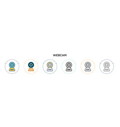 Webcam icon in filled thin line outline and vector