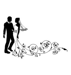 Wedding couple bride and groom silhouette vector