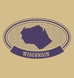 Wisconsin map silhouette - oval stamp vector