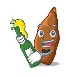 With beer fresh cassava isolated on the mascot vector