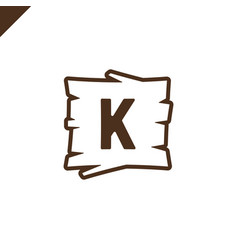 wooden alphabet or font blocks with letter k in vector