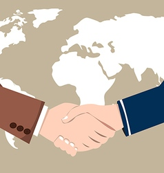 World Map Business Success handshake vector image