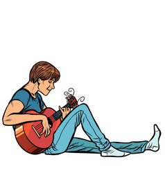 young teenager man plays acoustic guitar vector image