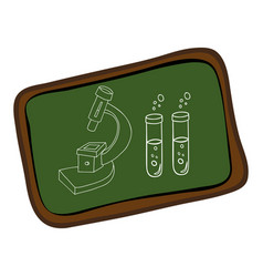 board with silhouette microscope and test tubes vector image