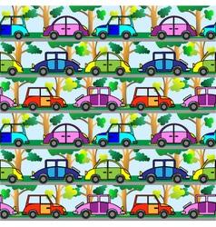 cartoon car seamless pattern vector image vector image
