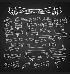chalk ribbons collection hand draw on black board vector image