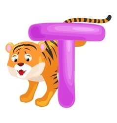letter T with tiger animal for kids abc education vector image vector image