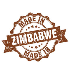 made in zimbabwe round seal vector image vector image