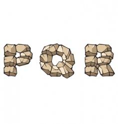 stone Alphabet pqr vector image