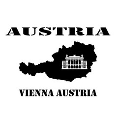 symbol of austria and map vector image vector image