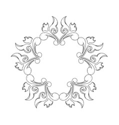 vintage floral ornament as round frame hand drawn vector image