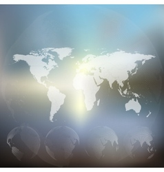 World map with dotted globes abstract blurred vector image