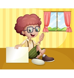 A boy holding an empty signboard near the window vector image vector image