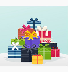 big pile of colorful gifts with bows vector image