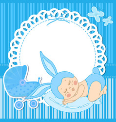 card with baby boy born in bunny costume vector image vector image
