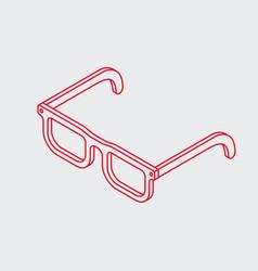 outline isometric eye glasses icon vector image