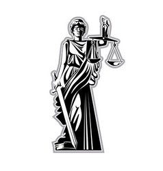 the silhouette of the statue of justice with vector image