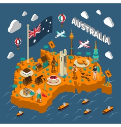 Australia Touristic Attractions Isometric Map vector image vector image