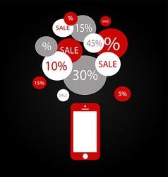 black smart phone vector image vector image
