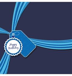 blue birthday ribbon vector image vector image