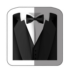 color sticker suit with bow tie icon vector image