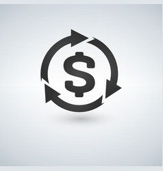 icon of dollar sign in circle made of arrows vector image