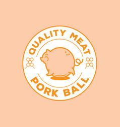 quality pork ball logo with big pig vector image