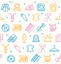 Sewing and needlework tool pattern background on a vector